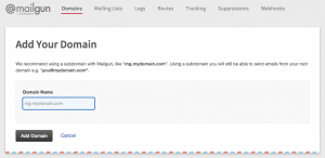 Mailgun recommends that you use a subdomain when you set up their service.